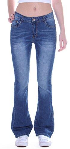 Damen Jeans, Bootcut, Schlagjeans, Schlag Hose, Hüftjeans in blau Damenjeans Damenhose Bootcutjeans Bootcuthose Schlaghose Weites Bein Hüfthose Hüft Lowrise Low Rise Blaue Waschung Gr Größe L 40 (Schlaghose Baumwoll)