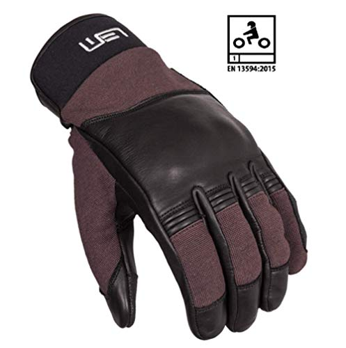 LEM GUANTI ESTIVI GLOVES MOTO ROAD OMOLOGATO PELLE LEATHER BLACK BROWN TG XXL 2XL