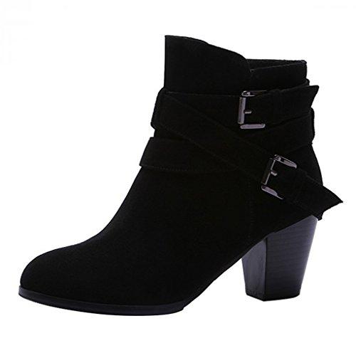 Fashion Damen Kurzschaft Stiefel mit Absatz Gürtelschnalle Stiefeletten Herbst Winter Boots Schwarz