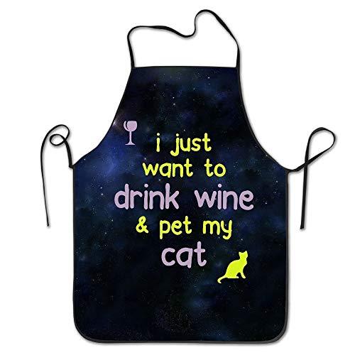 gatetop Unisex Drink Wine & Pet My Cat Küchenschürzen (Wonder Pets Kleidung)