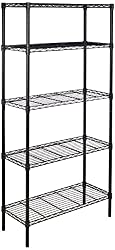 AmazonBasics Lagerregal mit 5 Regalböden, bis zu 160 kg pro Regalboden, Schwarz