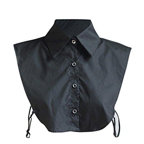 Mitlfuny Damen Vintage Choker Halskette Abnehmbare Revers Hemd Fake falsch Kragen In Baumwolle Doll Vintage Elegante Damenhalb Fake Hemd Abnehmbare Hälfte Shirt (Schwarz)