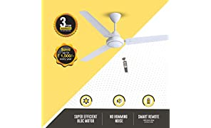 Gorilla Efficio Energy Saving 5 Star Rated 3 Blade Ceiling Fan With Remote Control and BLDC Motor, 1400mm- White