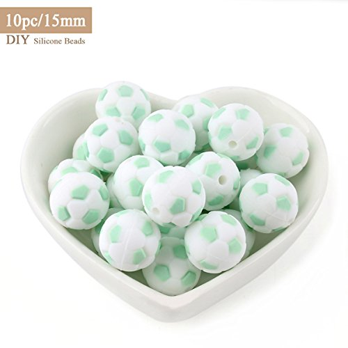 Mommy love baby Silicone Dentition Football Perles 15mm 10pc Grass Green Bébé Dentition Jouets DIY Collier Bracelet Pendentif Accessoires