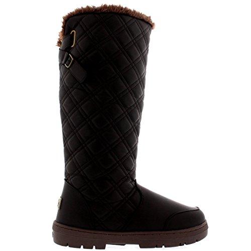 Damen Quilted Twin Strap Back Tall Pelz Gefüttert Schnalle Winter Schnee Regen Stiefel Braun Leder