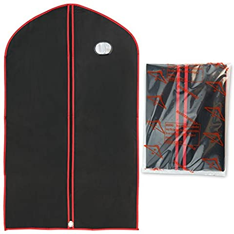 Hangerworld Pack of 3 Black & Red Vinyl Garment Suit Jacket Clothes Cover Protector Bags - 43