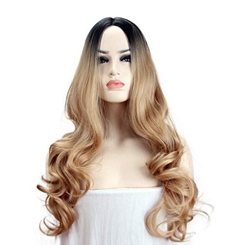 Goldene Perücken europäische und amerikanische Steigung langes lockiges Haar Damen Perücken Chemiefaser Haar für tägliche Abnutzung Party Geburtstag Karneval Karneval Cosplay 26 Zoll -