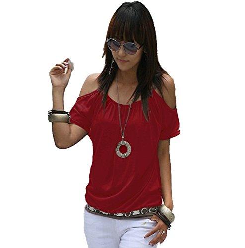 Japan Style von Mississhop Damen Top T - Shirt Bluse Longshirt Tunika Tanktop Oberteil Weinrot