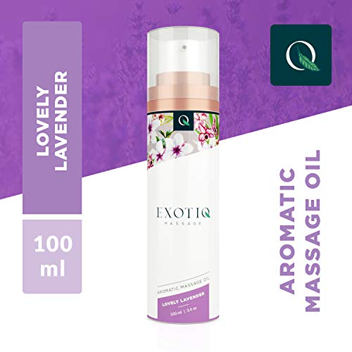 Exotiq Aromatisches Massageöl Lieblicher Lavender (100 ml) - Ideal für eine Entspannende Massage - Beruhigender Effekt; Lavendel-Duft, Frische, Handliche Dosierpumpe -