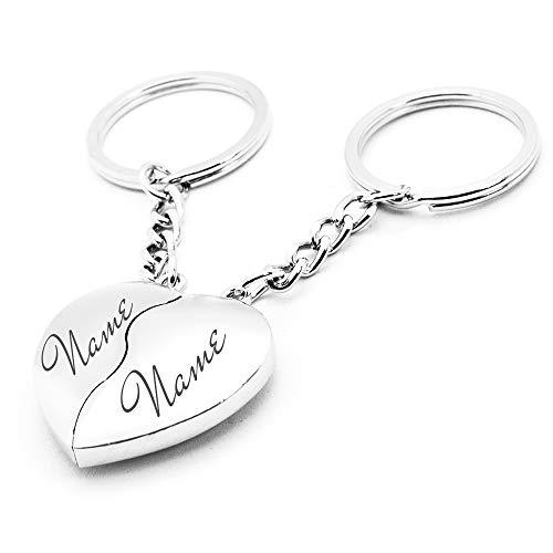 Schlüsselanhänger Herz mit Gravur | Personalisierbarer Paar Anhänger für Taschen, Koffer, Schlüssel (Anhänger Herz Schlüssel)