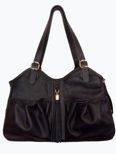 Petote Metro Couture Transporttasche für Hunde, Leder, mit Quaste, Mitternacht, Petite (Handtasche Designer Hundetragetasche)