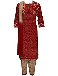 ADA Designer Hand Embroidered Chikankari Ethnic Red Cotton Stitched Suit For Women A128783