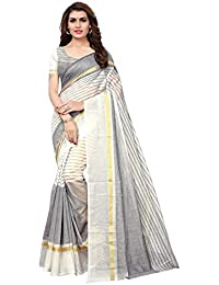 Indira Designer Women's Cotton Saree With Blouse Piece (Free Size)