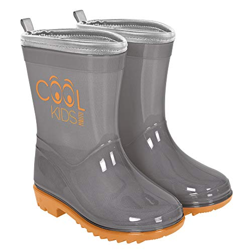 PERLETTI Rain Boots for Kids - Waterproof Wellies Shoes with Anti Slip Outsole - Neon Colour Wellington with Reflective Inserts - Cool Kids