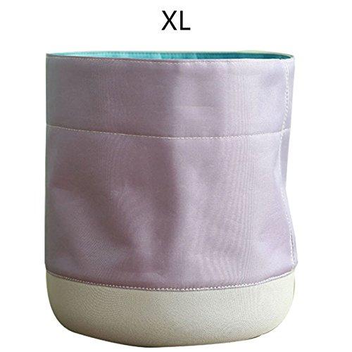 Dire-wolves Pflanze Blumentopf Lagerung Barrel Basket Startseite Innovative Wasserdichte Stoff Pflanzer Faltbar (XL, Violett) (Faltbare Stoff Baskets)