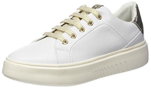 Geox D Nhenbus A, Scarpe da Ginnastica Basse Donna, Bianco (White), 37 EU