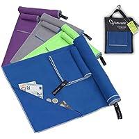 Mikrofaser Handtuch Set mit Tasche | schnelltrocknend, Ultraleicht | Sporthandtuch, Reisehandtuch, Sauna Handtuch, Fitnesstuch, Camping Handtuch