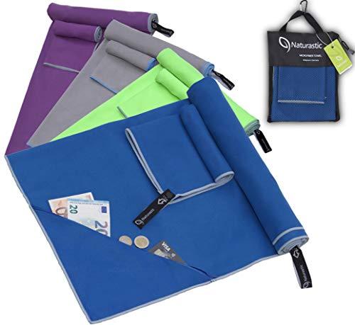 Mikrofaser Handtuch Set mit Tasche | schnelltrocknend, ultraleicht | Sporthandtuch, Reisehandtuch, Sauna Microfaser Handtuch, Fitnesstuch, Camping Handtuch