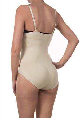Shapewear Mieder Body Figurformend Seamless Slim Bauchweg Unterwäsche Damen Frauen Beige