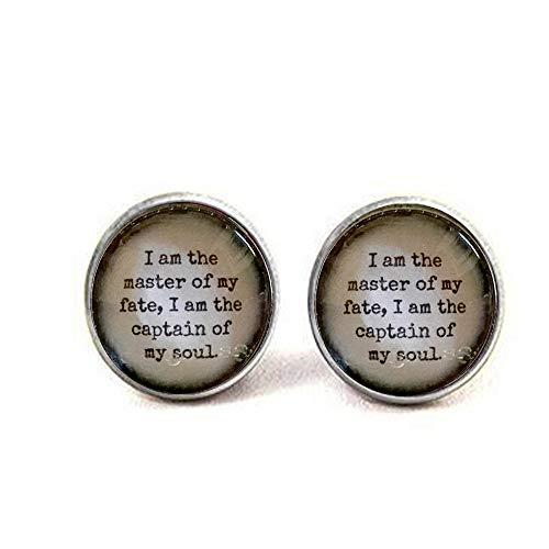 aaaAA Ohrringe Zitat Zitat I Am The Master of My Fate Idea Literary Zitat Encouraging (Ideen Halloween Paar Für Berühmte)