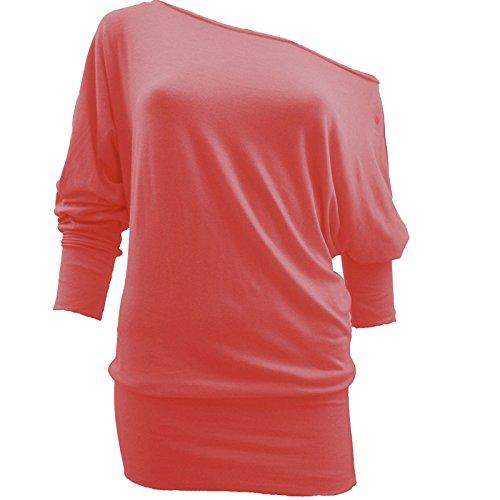T-shirt à épaule dénudée et manches 3/4chauve-souris Taille FR: 36–52 Noir - Corail