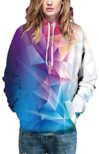EmilyLe Femme Sweat-Shirts Décontracté à Manches Longues Imprimé avec Capuche Unisex Pull Multicolore 126-Multicolore