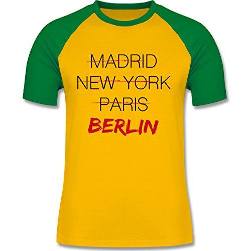 Städte - Weltstadt Berlin - zweifarbiges Baseballshirt für Männer Gelb/Grün