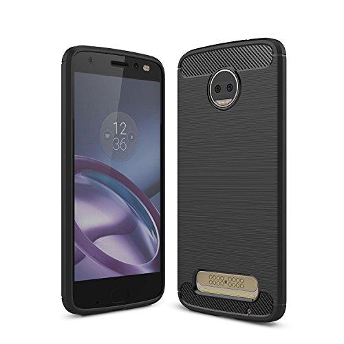 Motorola Moto Z2 Force Hülle, Gray Plaid Ultra Slim Leichte Stoßfest Carbon Fiber Design Flexible Weiche TPU Silikon Schutzhülle Tasche Case Cover für Motorola Moto Z2 Force - Schwarz