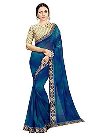 TAGLINE Georgette Saree With Blouse Piece (TAG16060_Blue_free)