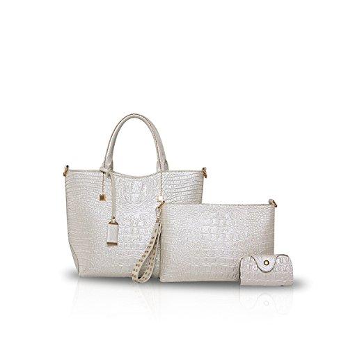 NICOLE&DORIS Frauen Crossbody Tote Handtasche Tasche 3PCS Krokodil PU Blau Weiß