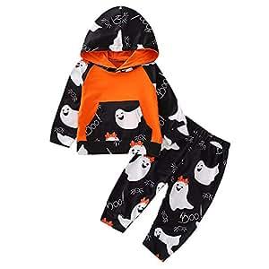 Riou Kinder Langarm Halloween Kostüm Top Set Baby Kleidung Set Kleinkind Infant Baby Mädchen Kürbis Geist Print Kleider Halloween Kostüm Outfits (Schwarz B, 70)