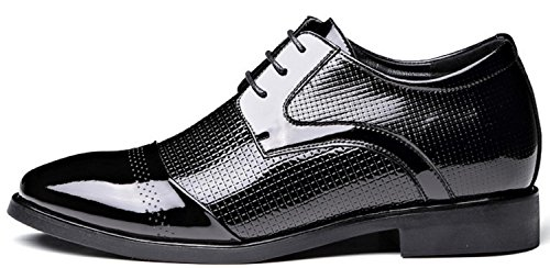 Nspx Men's Casual Respirant Men's Shoes / Hauteur Interne / Chaussures Hommes Angleterre Cuir Chaussures Bright, 40 Blackheighten-43