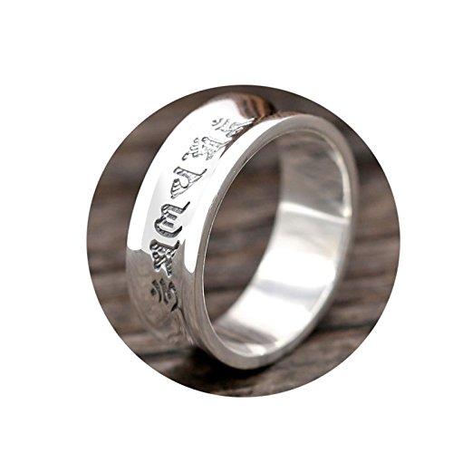 Coniea Ring Offen Ringe 925 Schwarz Sechs-Wort-Mantra-Memoiren Silberringe Größe 61 (19.4)