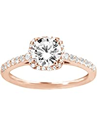 Silvernshine Womens Solitaire With Accent Engagement Wedding Ring In 14k Rose Gold PL