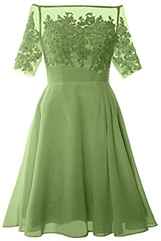 MACloth Women Off Shoulder Mother of Bride Dress with Sleeve