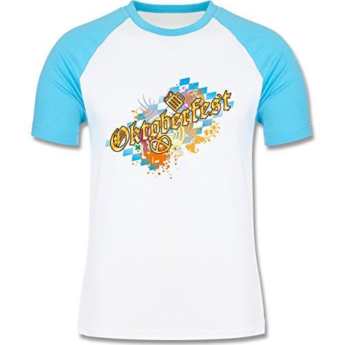 Oktoberfest Herren - Oktoberfest bunt - zweifarbiges Baseballshirt für Männer Weiß/Türkis