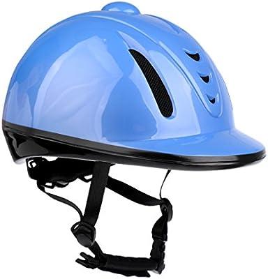 MagiDeal Casco de Equitación Ajustable Gorro de Seguridad Accesorio de Hípica Casco Ajustable de Barbilla Azul