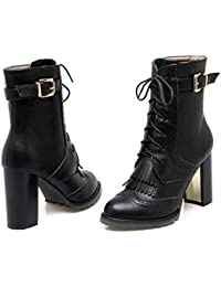 Ankel Boots 9,5cm Chunkly Heel Femmes Pointed Toe Shoelace Tassel Ceinture Buckle Bullock Style Casual Chaussures Court Shoes 2017 Auturm Winter New Eu Taille 34-43