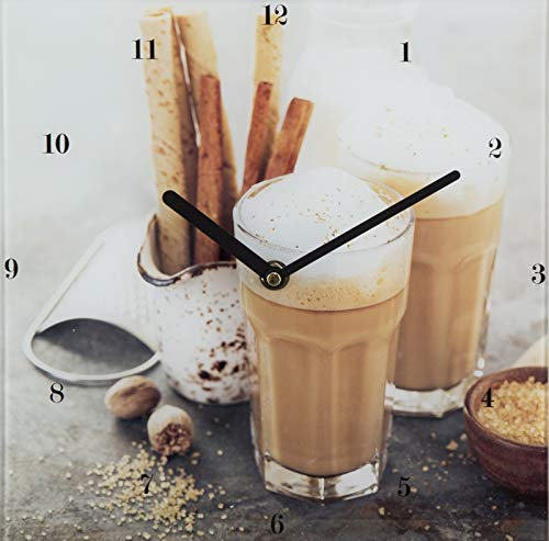 Wanduhr Spiegel-Profi Simon 78115040 Küchenuhr Cappuccino Motiv 25x25 - Cappuccino Küchenuhr
