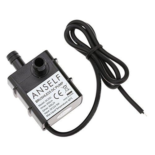 Anself Acqua Olio Pompa Mini DC12V 9W Micro Brushless Impermeabile Sommergibile Fontana Acquario Circolanti Lift 300L/H 450cm