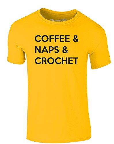 Brand88 - Coffee & Naps & Crochet, Erwachsene Gedrucktes T-Shirt Gänseblümchen-Gelb/Schwarz
