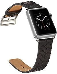 Correa Apple Watch 38mm,X-cool Negro Cuero de Calidad superior Reemplazo Banda para Apple Watch