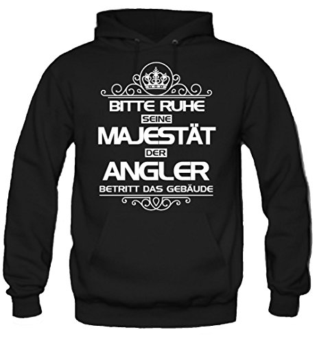 Bitte Ruhe seine Majestät der Angler Kapuzenpullover   Angel   Norwegen   Fishing   Sprüche   Urlaub   Männer   Herren   Fun (S, Schwarz)