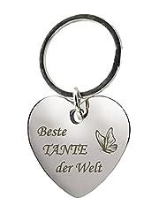 """Schlüsselanhänger Herz mit Gravur""""Beste Tante der Welt"""" mit Schmetterling - Chrom - Geschenk - Mutter - Mama - Muttertag oder als Geschenk zu Weihnachten"""