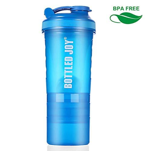 BOTTLED JOY Botellas batidoras de proteínas, 600 ml, sin BPA, Fuertes, duraderas, para Entrenamiento, Gimnasio, nutrición, Botella con Almacenamiento, 600ml Blue