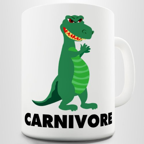 """Twisted Envy taza divertida, con """"carnivore"""", para amantes de la carne, con dinosaurio, de cerámica"""