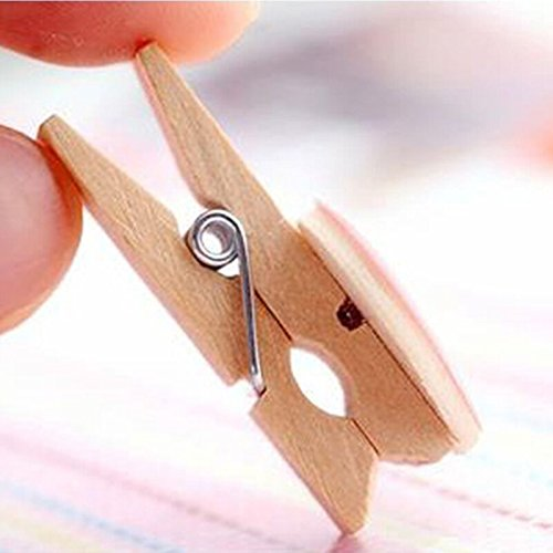 jijAcraft 100Pcs Mini Colorful Wooden Clothespins,Heart Shape Pegs, Photo Paper Clips with 30 Meters Jute Twine for DIY Decorations