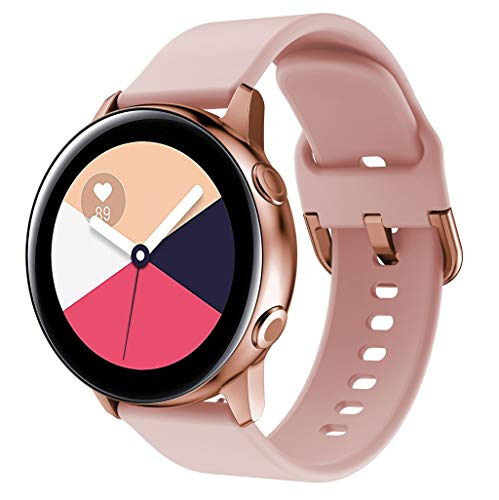 FeiliandaJJ Silikon Weich Ersatzarmbänder Für Samsung Galaxy Watch Active, Armbänder Sports Smart Watch Zubehör Uhrenarmbänder Replacement Watch Band (Rosa) -