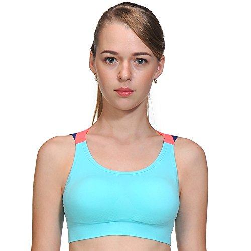 ACtex Frauen Candy Yoga BH Stretch Strap Medium Impact Sport Bras RacerRückseite mit abnehmbaren Pads S Blau