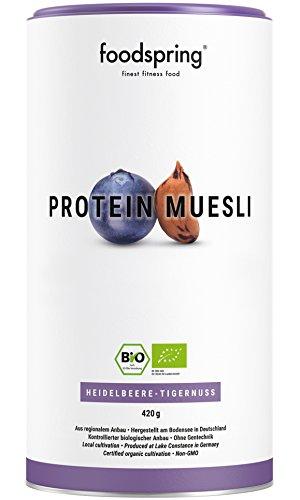 foodspring Bio Protein Müsli, Heidelbeere-Tigernuss, 420g, 3,5x mehr Protein als normales Müsli,...